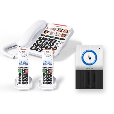 Swissvoice Xtra 3155 Corded Amplified Telephone with Two Handsets and Doorbell