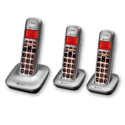 Amplicomms BigTel 1203 Big Button Amplified Cordless Telephone with Two Extra Handsets