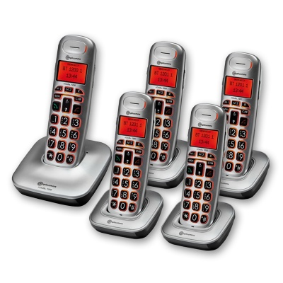 Amplicomms BigTel 1205 Big Button Amplified Cordless Telephone with Four Extra Handsets