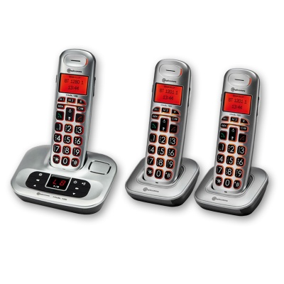 Amplicomms BigTel 1283 Big Button Amplified Cordless Telephone with Two Extra Handsets