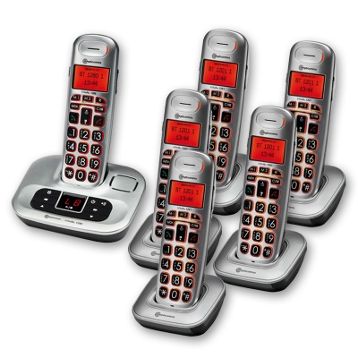 Amplicomms BigTel 1286 Big Button Amplified Cordless Telephone with Five Extra Handsets