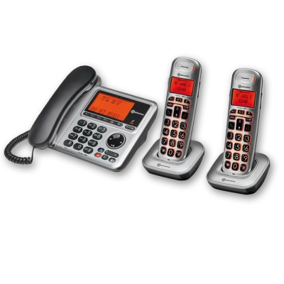 Amplicomms BigTel 1482 Amplified Desk Phone with Two Extra Handsets