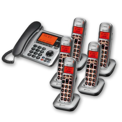Amplicomms BigTel 1485 Amplified Desk Phone with Five Extra Handsets