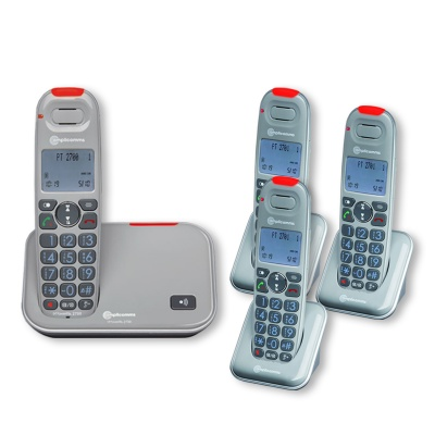 Amplicomms PowerTel 2704 Amplified Cordless Telephone with Three Extra Handsets