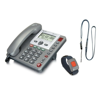Amplicomms PowerTel 97 Alarm Amplified Big Button Telephone with Wireless Remote SOS Pendant