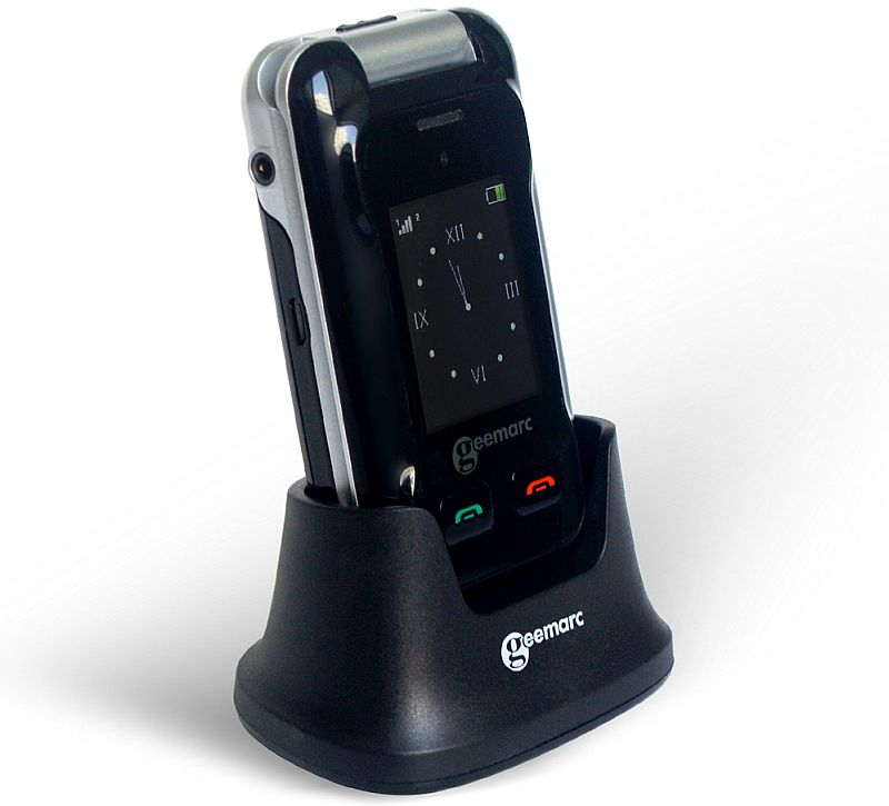 Geemarc CL8500 Clamshell Mobile Phone in its charging dock unit