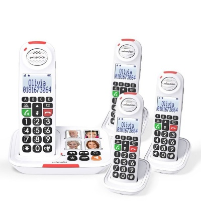 Swissvoice Xtra 2155 Amplified Cordless Telephone with Three Extra Handsets