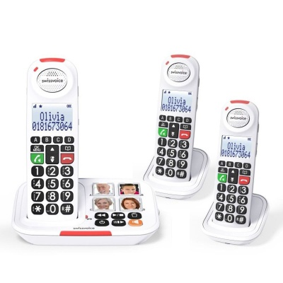 Swissvoice Xtra 2155 Amplified Cordless Telephone with Two Extra Handsets