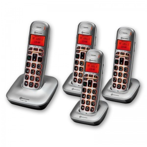 Amplicomms BigTel 1204 Big Button Amplified Cordless Telephone with Three Extra Handsets
