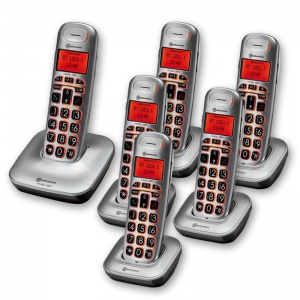 Amplicomms BigTel 1206 Big Button Amplified Cordless Telephone with Five Extra Handsets