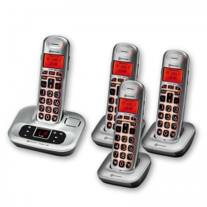 Amplicomms BigTel 1284 Big Button Amplified Cordless Telephone with Three Extra Handsets