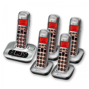 Amplicomms BigTel 1285 Big Button Amplified Cordless Telephone with Four Extra Handsets