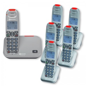 Amplicomms PowerTel 2706 Amplified Cordless Telephone with Five Extra Handsets