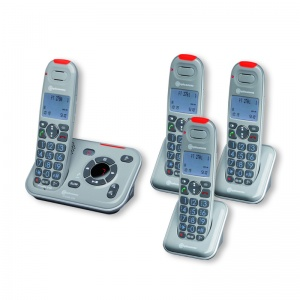 Amplicomms PowerTel 2784 Amplified Cordless Telephone with Three Extra Handsets