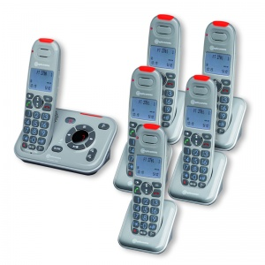 Amplicomms PowerTel 2786 Amplified Cordless Telephone with Five Extra Handsets