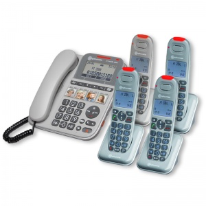 Amplicomms PowerTel 2884 Amplified Telephone with Four Cordless Handsets