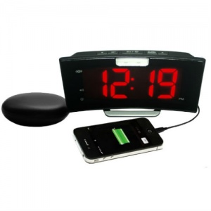 Geemarc Wake 'n' Shake Extra-Loud Curved Alarm Clock with Vibrating Shaker