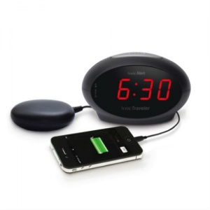 Sonic Traveller Extra-Loud Alarm Clock with USB Charging