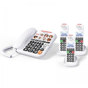 Swissvoice Xtra 3155 Corded Amplified Telephone with Three Extra Handsets